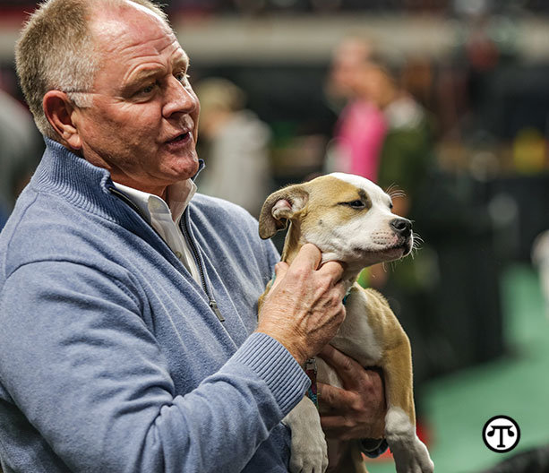 Kris Kiser, President of the TurfMutt Foundation and    the newest TurfMutt, Mulligan.
