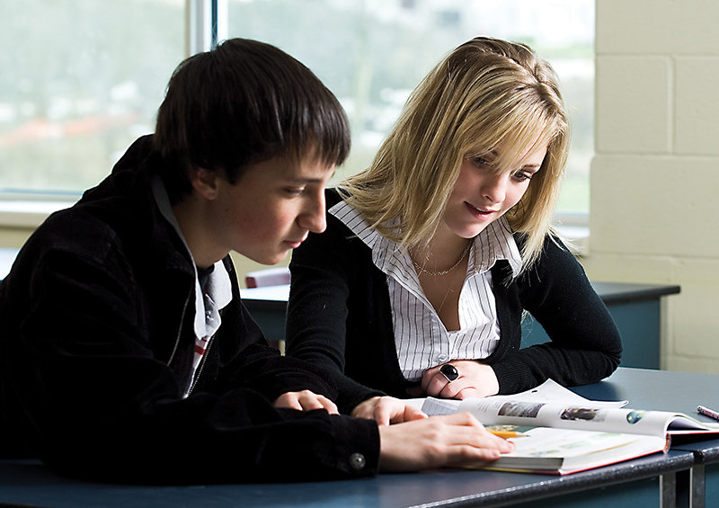 Two students studying together in class