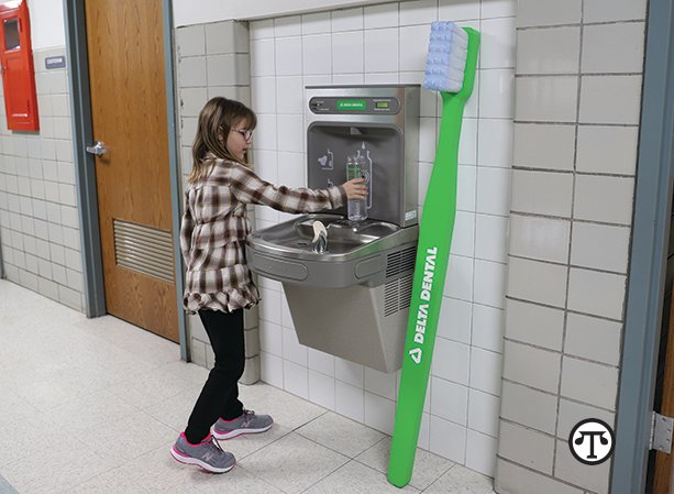 Bottle-filling stations in schools, while a good thing in 2019 when this photo was taken, are even more important for health and safety today.